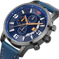 MINI FOCUS Men's Fashion Sport Stainless Steel Leather Quartz Analog Wrist Watch