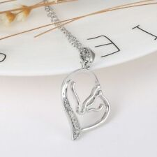 Creative Double Horse Personalized Heart Pendant Affection Crystal Necklace