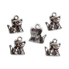 5 Breloques _ PETIT CHAT 15,5x14mm _ Perles charms création bijoux bracel _ B273