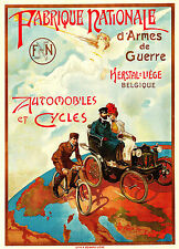 Early 1900s Belgian poster F&N Automobiles and cycle 13 x 19 Giclee print
