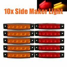 10x Amber/Red 6LED Side Marker Indicators Lights Lamp Truck Trailer Lorry 12/24V