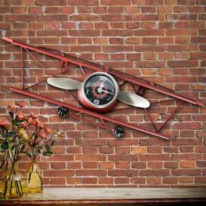 Creative Retro Iron Aircraft Clock Living Room Wall Hanging Decoration Ornaments