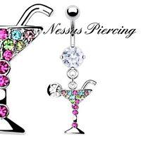 Cóctel Piercing de Ombligo MARTINI Beber Vidrio Cristal Pedrería Colgante