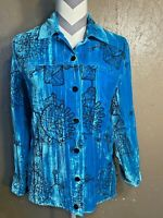 Womens Chicos Size 0 Blue Button Down Long Sleeve Silk Blend Geometric Design