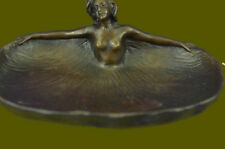 VINTAGE NUDE LADY DANCER ART STATUE ARMOR BRONZE ASHTRAY COIN TRAY HOLDER DECO