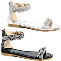 Womens Ladies Gladiator Summer Sandals Flat Ankle Strappy Diamante Fashion Shoes