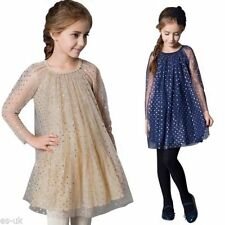 Blue Cotton Blend Dresses (2-16 Years) for Girls