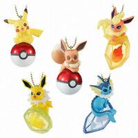 5pcs/set Pokemon Keychains Eevee Figures Pendant Toy Pikachu Vaporeon Flareon