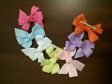 """New Lot Of 7 Xsmall Pinwheel Bows Spring/Summer Bow 2 1/2"""" Pink, Infant  Girl"""