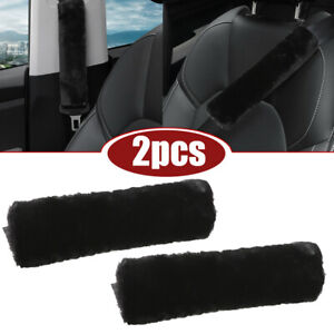 2x Car Accessories Sheepskin Seat Belt Cover Shoulder Strap Pad Cushion Headrest