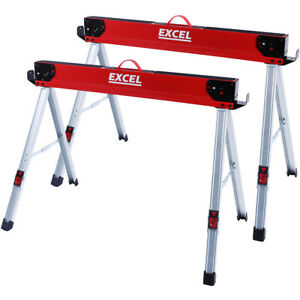 Excel Heavy Duty Steel Saw Horse Folding Twin Pack 1178kg Capacity