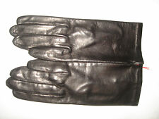 "Vintage Italy Antonios Genuine Black Soft Leather 8"" L Gloves Silk Lining 6.5"