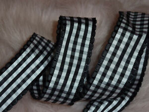 Black & White Gingham Check Wired Ribbon 38mm Wide x 1m