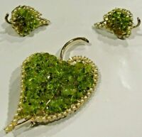 Vintage DODD's Brooch Earrings SET Green Amber Lucite Estate Costume Jewelry