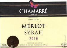 Etiquette de vin - Merlot Syrah - Chamarré France 2010 (181)
