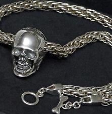 massiv 8mm 925 Silberkette Handgeflochte Skull Bones Totenkopf Totenschädel 65cm