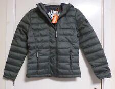 Superdry Double Zip Tweed Fuji Hooded Jacket Grey Marl S RRP £89.99 CR181 BB 02