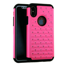 For Apple iPhone X - Rhinestone Hybrid Silicone Cover Rugged Armor Case COLOR