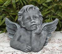 Steinfigur Engel Putte Grabschmuck Gartenfigur Gartendeko Engelsmotiv frostfest