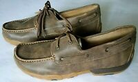 Twisted X Men's Leather Lace-up Rubber Sole Driving Mocs, Bomber, Sz 10.5 Wide
