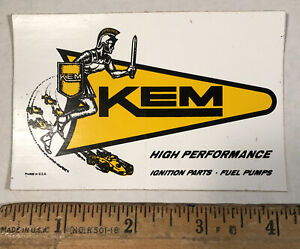Vintage Kem Ignition Parts Fuel Pumps Decal Sticker Hot Rat Rod Car Auto Racing