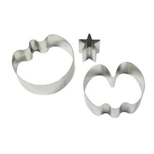 PME 3pk SMALL SWEET PEA & STAR CALYX Cut Out Stainless Steel Icing Cutters Sugar