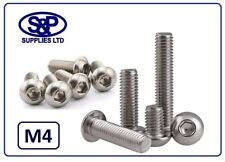 M4 - 4mm STAINLESS STEEL SOCKET BUTTON SCREW ALLEN DOME BOLT  6MM TO 40MM LONG