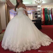White Lace Appliques Wedding Dress 2020 Sweetheart Beaded Princess Bridal Gown