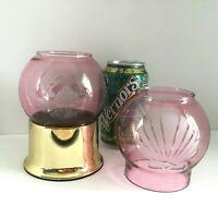 2 Hollowick Coastal Motif Table Candles w/ Mauve Glass Globe, Brass Base, NY USA