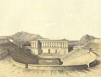 Sicily, SEGESTA ANCIENT GREEK AMPIHTHEATRE THEATER ~ 3 1882 Art Print Engravings