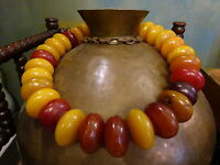 HUGE 31 Antique African Copal Amber trade bead necklace early 20th C 885 grams