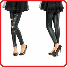 BLACK CUT-OUT BANDAGE RIPPED SLIT LEATHER LOOK ZENTAI SEXY LEGGINGS PANTS
