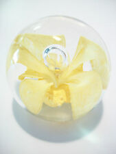 Vintage Studio Glass Floral & Bubble Paperweight - Unsigned - Mid 20th Century