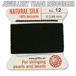 BLACK SILK STRING THREAD 0.98mm FOR STRINGING PEARLS & BEADS GRIFFIN SIZE 12