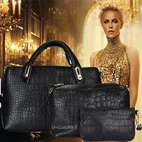 3 pièces femme sac à main épaule bandoulière cuir besace sacoche porte-monnaie