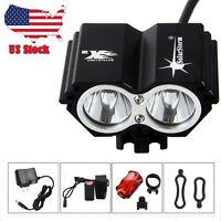 XML T6 LED Head Bicycle Light Bike Headlamp Headlight Rechargeable Battery USCC