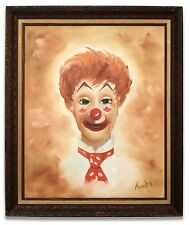Vintage Oil on Canvas Painting of a Clown signed Thompson c. 1960 Framed