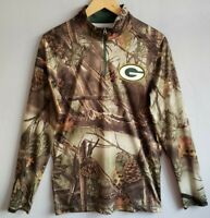 Green Bay Packers NFL Team Apparel TX3 Cool 1/4 Zip Camo Shirt Men Small Dry Fit