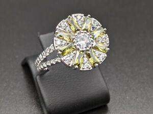 Handmade 925 Sterling Silver Womens Ring 7 Yellow & White Topaz