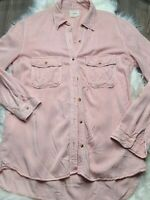 Franchesca's Harper Women Pink Long Sleeve Button-Down Shirt Blouse Top M