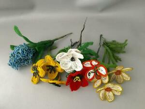 VTG LARGE LOT FRENCH HAND MADE BEADED GLASS SEED BEADS FLOWER STEM BOUQUET
