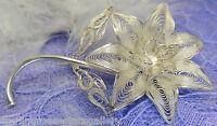 Vintage Filagree Rue Anemone Flower Sterling Silver 0.925 Brooch Broach, C clasp