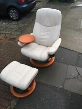 Cream Ekornes Stressless Chair With Table And Footstool