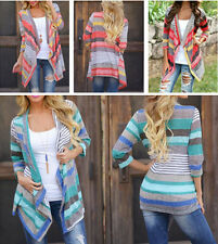 size S-2XL Women Long Sleeve Knitted Cardigan Loose Sweater Jacket Coat Sweater
