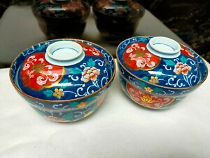 Signed JAPAN Imari Oriental Design Print Big Rice Bowl with Cover Collection 2pc