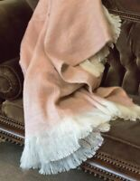 Victorian Trading Co Blush Mohair Wool Blend Sweater Throw Pink