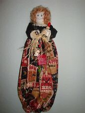 Weekend BBQ Chef Theme Plastic/Grocery Bag Holder/-Dolls-Handcrafted-Rustic-