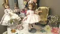 """PINK PARTY DRESS 8 PIECE OUTFIT LOT: 13"""" LITTLE DARLING 14"""" MCCALL or ALEXANDER"""