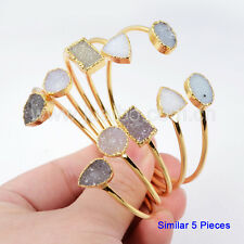 5Pcs Gold Plated Mixed Shape Natural Druzy Agate Adjustable Open Bangle GG0148