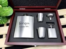 Personalised Birthday Gift Engraved Stainless Steel Hip Flask Set in Wooden box